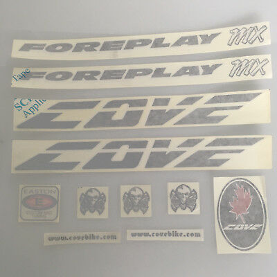 Cove Foreplay MX Replacement Bike Frame Decal Sticker Kit Black Pre 2010