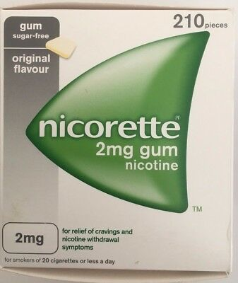 NICORETTE 2mg SUGAR FREE GUM - 210 PIECES - ORIGINAL