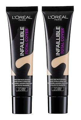 2x 35g L'Oreal Loreal Paris Foundation Infaillible Total Cover Make-up