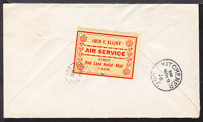 CANADA SEMI-OFFICIAL #CL6 (25c) RED, 1926 JACK ELLIOT AIR SERVICE on COVER
