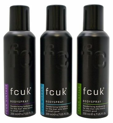 Mens FCUK Bodyspray Deodrant Gift set Trio (3x 200 ml) Vintage/ Urban / Style