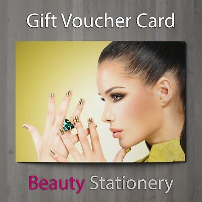Gift Voucher Beauty Salon Blank Card Facial Nails Makeup Present A7 + Env.