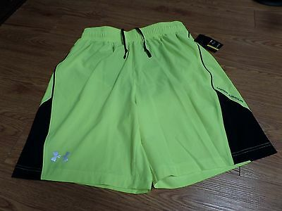 bnwt-mens under armour shorts-running-zipper pocket in bacl-yellow-black-small