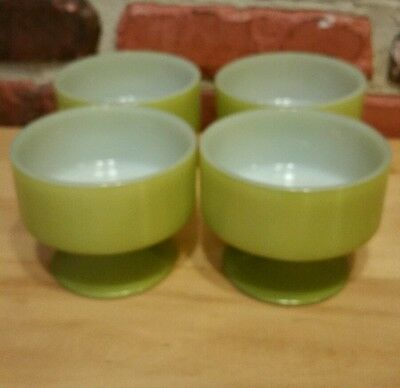 4 Vintage  Federal Glass Green Parfait