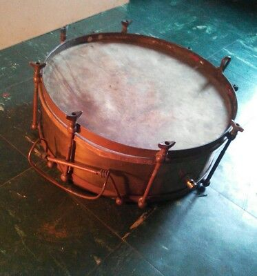 🥁 Antique Brass Marching Military Snare Side Drum Gisburne & Botsell Victorian