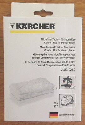 GENUINE KARCHER 2PK Microfibre Floor Cloths For SC4 & SC5 (2.863-020.0)