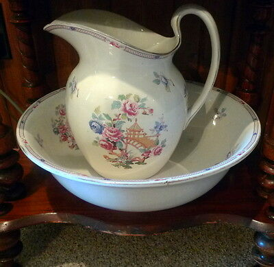 """Large 11"""" Vintage Chinese Hand Painted Pitcher and Wash Bowl Set Basin"""