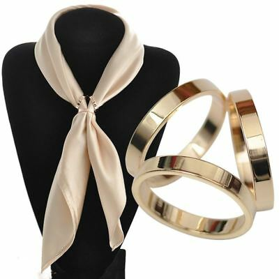 Women Scarf Buckle Golden Silk Shawl Round Ring Clip Party Jewelry Accessories