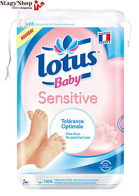 LOTUS BABY Sensitive Cotons Carrés Bébé Maxi 65 Pieces - Lot de 12