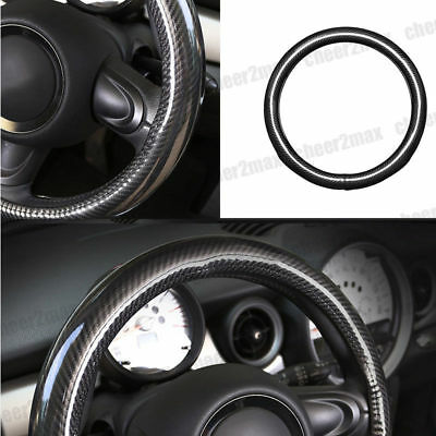 "15"" Carbon Fiber Car Styling Steering Wheel Cover Interior Decoration Black M"