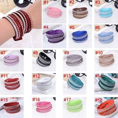 Women Wrap Bracelet Leather Wrist Band Crystal Rhinestone Bangles Jewelry Gift