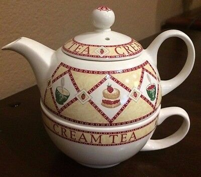 """Arthur Wood 1996 ~ Teapot With Cup """"FOR ONE"""" ~ Cream Tea Design"""