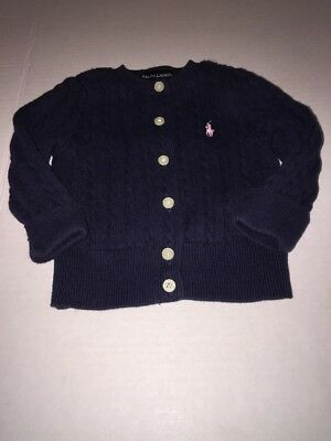 Ralph Lauren 9 month Baby Girls Cable Knit Sweater L/S  navy Preowned