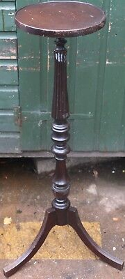 Very Nice Tall Useful Wooden Jardenaire Or Plant Stand With Tripod Leg