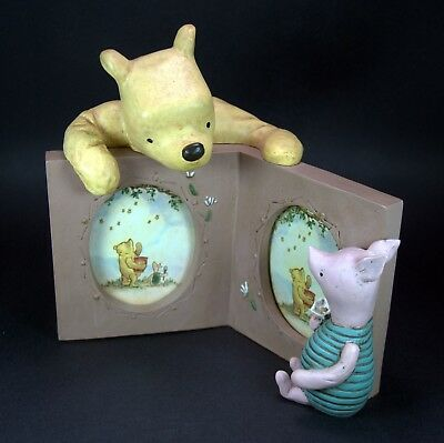 Disney Winnie the Pooh & Piglet Figurines Double-Picture Photo Frame