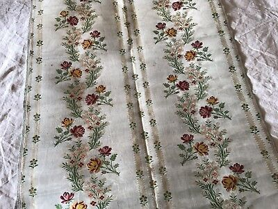 ANTIQUE FRENCH GREEN WATERED SILK PANEL - GARLANDS OF FLOWERS - 19th