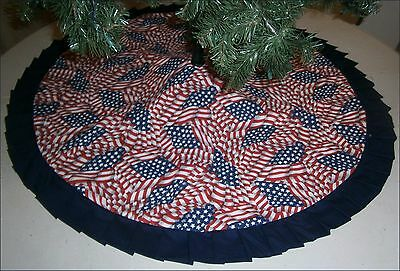 "Patriotic / Fourth of July Tree Skirt ~47"" Flag Print ~ Handcrafted"