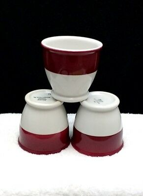 3 Vintage Mayer China Red Banded Custard Egg Cups   Charty