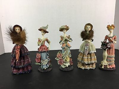 "Lot of 5 Mini Porcelain Doll Dress Glamour 5"" tall"
