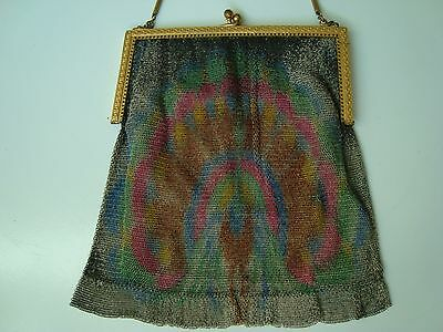 Vintage Art Deco Whiting And Davis Metal Mesh Purse With Colorful Peacock Design