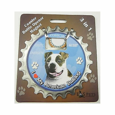 American Bulldog Dog Bottle Ninja Stainless Steel Coaster Opener Magnet