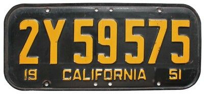 Vintage California 1951 License Plate, 2Y59575, Nice Quality