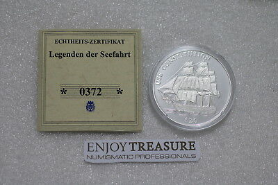 Liberia 20 Dollars 2000 Uss Constitution Silver Proof With Coa A73 Cm1 - 3