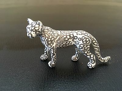 """big cat figurine/statue, black and white polymer, standing, 2"""" long"""