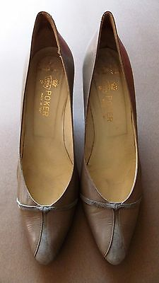 """Immaculate Vintage Italian Pale Brown All Leather Women's Shoes- 3"""" Heels"""