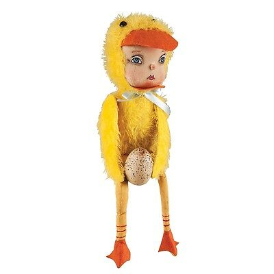 """Joe Spencer Dolly Duck Girl Fabric Doll 13"""" New Gathered Traditions"""