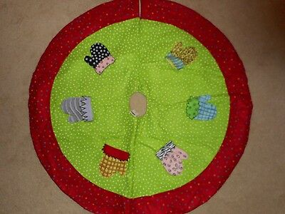 Snowy Cheer Mittens Christmas Tree Skirt by JWM Collection New Designed by Becca