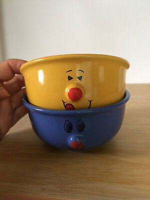 Set Of 2 Small Cereals Soup Bowls Funny Face 3D Protruding Nose Blue Yellow