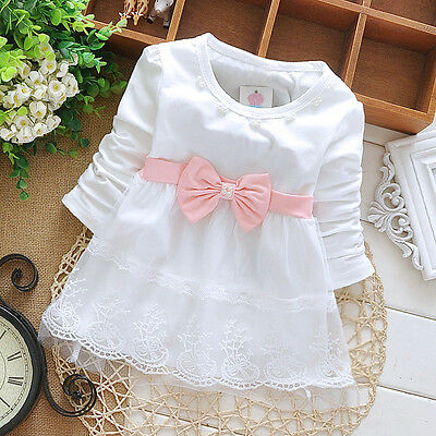 Newborn Baby Girl 100% Cotton Fashion Clothing Toddler Infant Lace Flowers Dress
