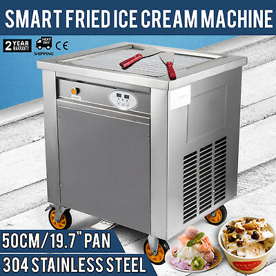 Smart Fried Ice Cream Machine Roll Maker Commercial Square Pan w/ Control Panel
