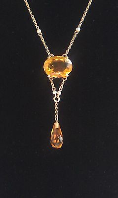 Edwardian antique--Citrine necklace 10 K gold with matching modern earrings