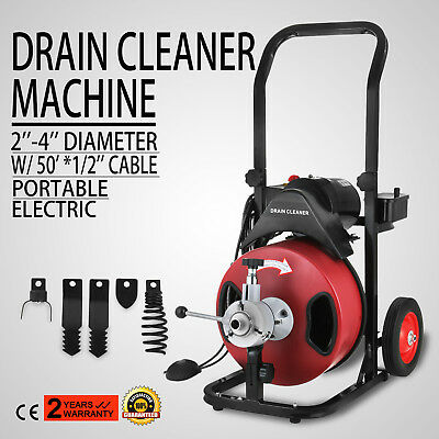 50FT*1/2'' Drain Auger Pipe Cleaner Machine Local Snake Sewer Clog W/Cutter