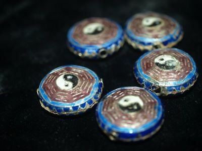 LOT of 5 Vintage Chinese Bead Cloisonne Enamel I CHING Yin Yang 20mm x 10mm