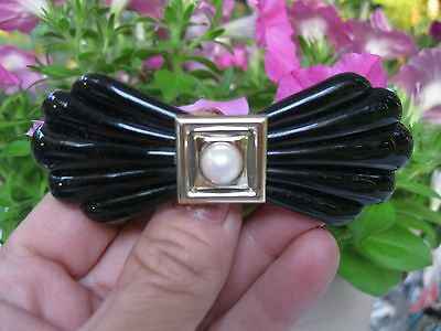 Vtg Black With Pearl Bow Lucite Well Made Hair Barrette French Clip Deco Retro