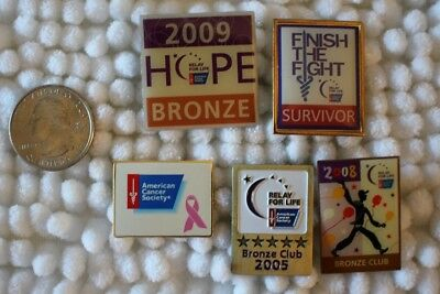 Lot of 5 American Cancer Society & Relay For Life Pins Pinbacks #26479