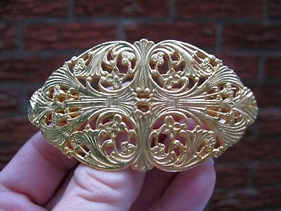 Vtg New Gold Well Made Victorian Ornate Hair Barrette French Clip Retro 70's Nos