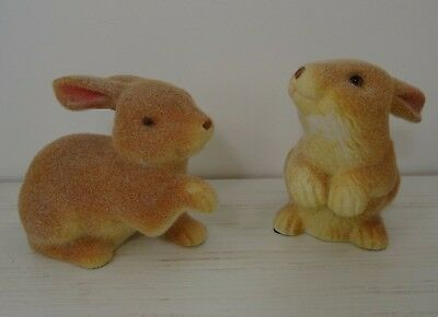 Flocked Bunny Rabbit Figurine set of 2