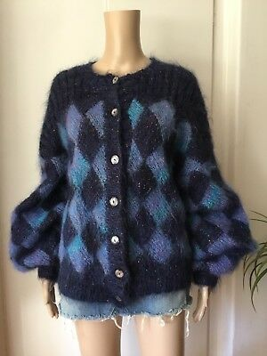 VINTAGE 80's Shaggy MOHAIR CARDIGAN Harlequin Pattern HAND KNIT Puffed Sleeves