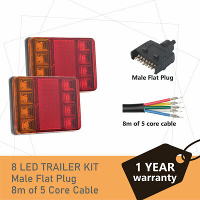 Pair of 8 LED TRAILER LIGHTS KIT and 1 x Trailer Plug,  8M x 5 CORE CABLE 12V