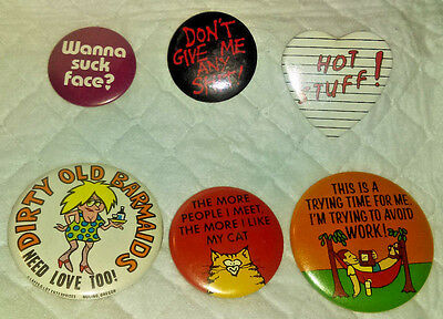 Vintage Adult Novelty Button Lot of 6 Pin Pinback Humorous