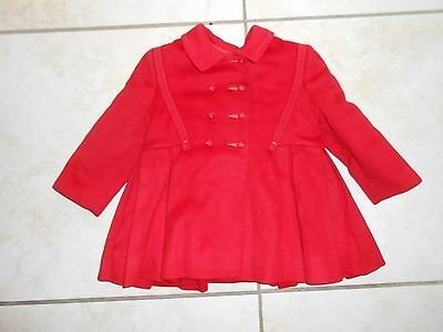 1950s Toddler 3C Red Wool Dress Snowsuit Girls Overalls Set ILGWU Union Made VTG