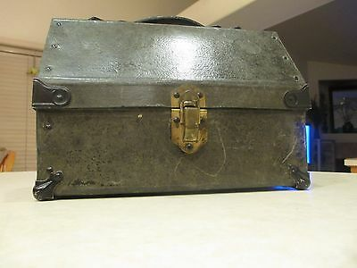 Vintage Miner's Cardboard & Steel Lunch Box with Thermos