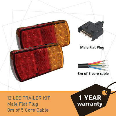 Pair of 12 LED TRAILER LIGHTS KIT - 1 x Trailer Plug, 1 x 8M 5 CORE CABLE, 12V