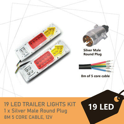 Pair of 19 LED TRAILER LIGHTS KIT - 1 x Trailer Plug, 1 x 8M 5 CORE CABLE, 12V