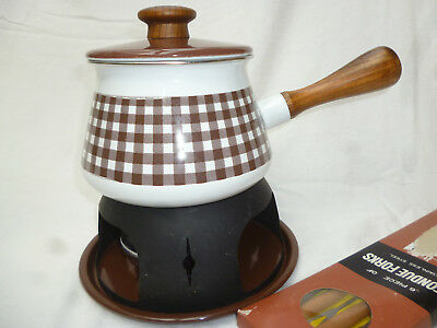 RETRO 1970s ENAMEL WARE FONDUE POT with burner, stand & forks - vg condition