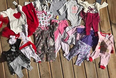 Large Lot 0-3 Months Baby Girl Clothes, Carter, Disney, H&M Childrens Place